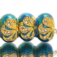 1x Teal With Gold Faberge Bead - Pugster - Blue Green Faberge Bead - Crystal Rhinestones - Large Hole - Fits European - B6