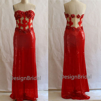 Sexy Red Long Evening Dress,Backless Sequins Dark Grey/Royal Blue/Pink/White Evening Gown,Beautiful Strapless Prom/Ball/Ceremony Party Dress