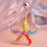 Star Fish Belly Button Ring Piercing
