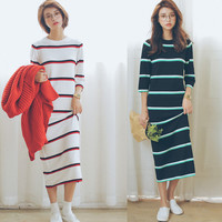 Contrast Stripe Round Neck Maxi Dress