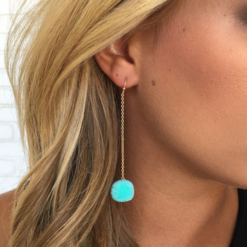 Pom Pom Ball Earrings In Blue