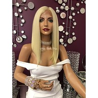 """Blond Human Hair Blend Swiss Lace Front Wig 12"""" 