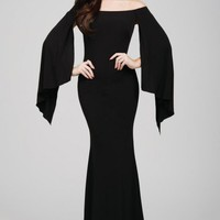 Jovani 21799 Off the Shoulder Gown with Hanging Sleeves
