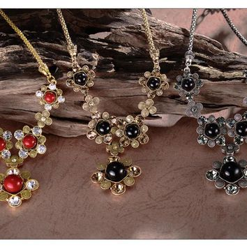 Simulated Pearls Jewelry Sets Austrian Rhinestone Necklace Earrings Set Wedding Party Accessories