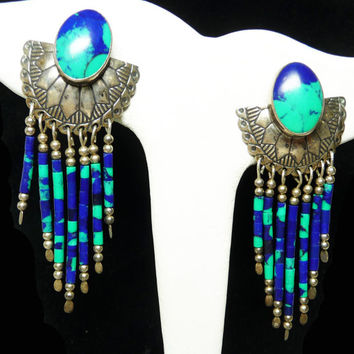 Southwestern Sterling Silver Earrings for Pierced Ears with Azurite Beads - Native American Indian Signed TK