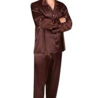 Del Rossa Men's Classic Satin Pajama Set - Long Pjs