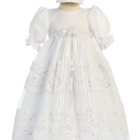 Organza Overlay Christening Gown with Bands of Floral Lace & Sequins (Baby Girls Newborn - 18 months)