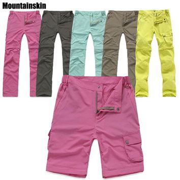 Outdoor Quick Dry Removable Hiking&Camping Pants Women Summer Breathable Trekking Trousers UV Protection Fishing Pants RW082