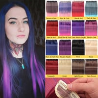EVET 2016 New Fashion Clip in Hair Extensions One Piece 55cm Straight Black Brown Ombre One Piece Hair Extentions