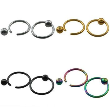 ac ICIKO2Q SUNYIK 1Pc Ball Closure Ring Captive Bead Rings CBR BCR Hoop Stainless Steel Earring Lip Piercing Tragus