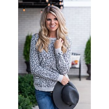 Let's Bet On It Leopard Crew Neck Sweater : Grey
