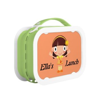 Cute Little Girl in Orange and Yellow Lunchbox