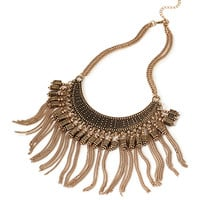 FOREVER 21 Fringe Bib Necklace Antic Gold One