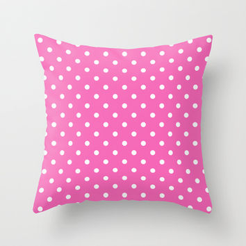Lovely, cute, modern, classic, elegant and trendy pink and white polka dots graphic pattern. Throw Pillow by PatternWorld