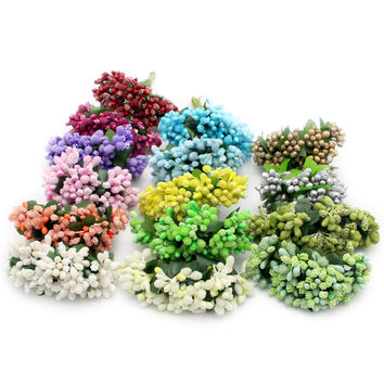Lucia Crafts 12pcs/lot  Artificial flower glasses with beads flowers /Wedding /decorative flower 027005002