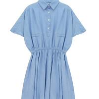 Denim Shirt Dress with Batwing Sleeves