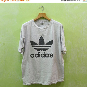 on sale 87e0c 805f5 15% SALES Vintage 90 s ADIDAS Trefoil Football Shirt Big Logo World Cup  Gray T Shirt