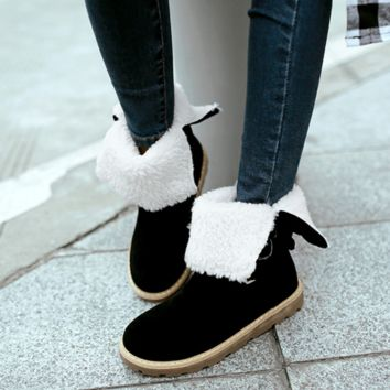 Winter new women's fur boots to wear two snow boots flat with warm mid-calf boots Black