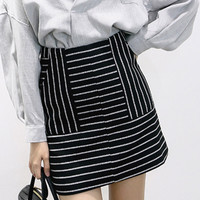 Monochrome Striped Pocket Mini Pencil Skirt