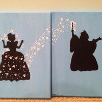 "Disney's Cinderella And Fairy Godmother 2 8""x10"" Acrylic Paintings"