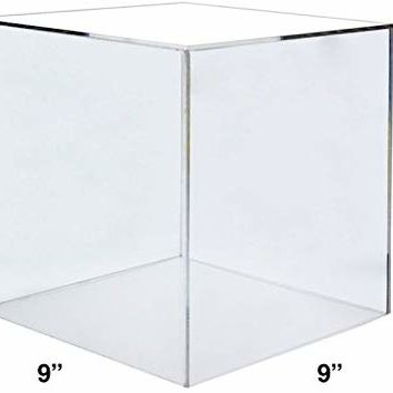 "Marketing Holders Clear Acrylic 5 Sided Display Cubes 9"" x 9"" x 9"" Pedestal Display Stand One Open Side Qty 1"