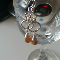 Amber drops/ dangle earrings/ chainmaille  dangle/ fashion  earrings /