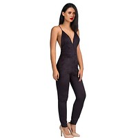 Summer Women Party Bodycon Jumpsuit Deep V neck Sexy Cross back strappy bodysuit overalls bandage backless romper green