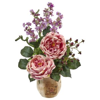 Artificial Flowers -Large Pink Rose And Dancing Daisy In Wooden Pot Arrangement