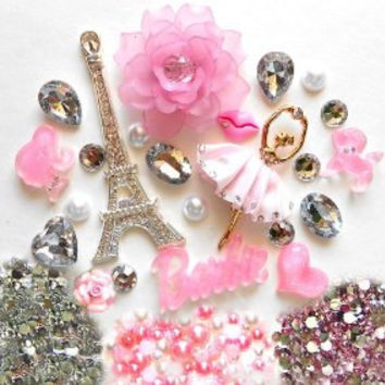 W21- DIY 3D Rhinestone Eiffel Tower Bling Cell Phone Case Resin Flat back Kawaii Cabochons Deco Kit / Set