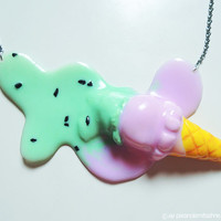 Molten Ice Cream Necklace - Mint and Pink with Chocolate Sprinkles