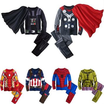Avengers Kids Boys Superhero Pajamas Toddler Sleepwear Clothes Sets Infant Robe Children Pijamas For Boy Christmas Pyjamas 3Pcs