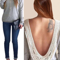 'The Laverne' Backless Long Sleeve Blouse