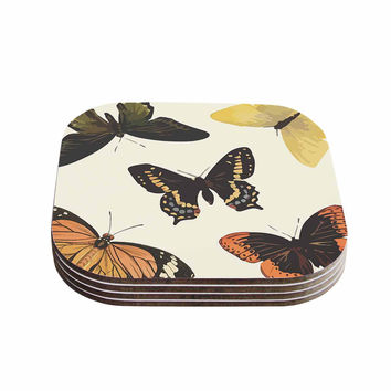 "NL Designs ""Vintage Butterflies"" Tan  Coasters (Set of 4)"