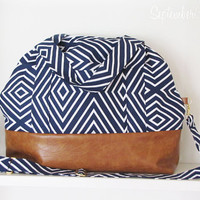 Overnight Bag in Navy and White Geo Print and Brown Faux Leather Bottom - Crossbody Strap - Diaper Bag