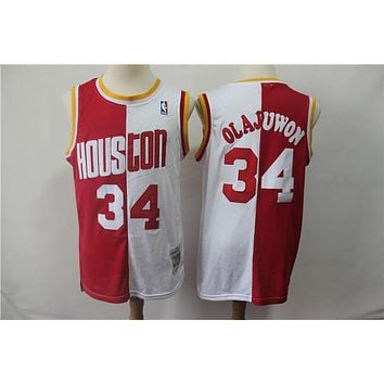 Houston Rockets 34 Hakeem Olajuwon Doubel Color Spell Swingman Jersey