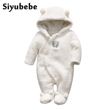 Siyubebe Newborn Baby Clothes Bear Onesuit Hooded Baby Girl Boy Rompers Plush Jumpsuit Winter Overalls For Kids Roupa Menina