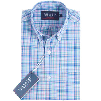 The Ashe Button Down Shirt Blue/Teal/Pink