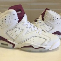 PEAP NIKE Air Jordan Retro 6 Maroon Basketball Shoes Men Women 6s Maroon White Red Athletics Sport