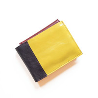 Mens Leather Wallet, Yellow Wallet, Leather ID Card Holder Wallet, Personalized, Monogram, The Wesley Wallet in Yellow and Dark Slate Grey