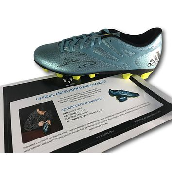 Lionel Messi Signed 15.4 Adidas Cleat COA Icons Boot Leo Autograph Barcelona