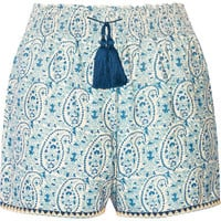 Talitha - Printed cotton and silk-blend shorts