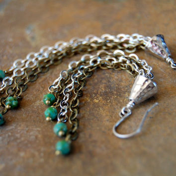 Extra Long Mixed Metal Chain Dangle Earrings, Turquoise Glass Beads, Bronze and Silver Chain, Hammered Rhodium Cone, Metalwork Jewelry