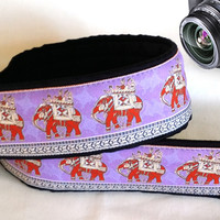 Lucky Elephants Camera Strap. Ethnic Camera Strap. Camera Accessories