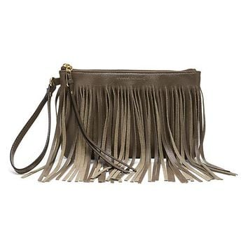 Banana Republic Willow Fringe Wristlet Size One Size - Dark olive