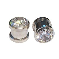 2g Ear Gauges - 1 Pair of 316L Stainless Screw Fit CZ Bling Tunnels Size 2g. Clear CZ Plugs.