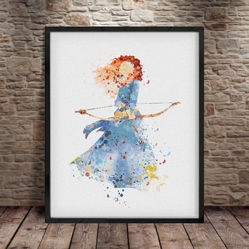 Merida, Princess Merida, Merida, Disney poster, Art, Digital Print Disney Princess, Disney, Watercolor Art Print Poster, Nursery Decor -a16