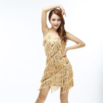 Sexy women stunning flapper fringe 1920s gold vintage great gatsby charleston sequin party latin dance dress plus size