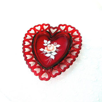 Vintage Decorative Plate Glass Heart Plate Signed B. Weiss Open Heart FIligree Trim Valentines Day Collectible Gift Item 1709