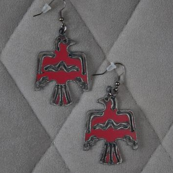 Metal Thunderbird Earrings - Red