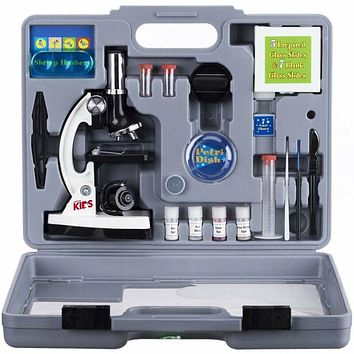 52pc 120X-1200X Starter Compound Microscope Science Kit for Kids (White)